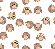 Seamless pattern with cute owls on white Royalty Free Stock Photography