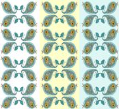 Seamless pattern with cute paisley ornament as birds. Royalty Free Stock Photography