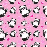 Seamless pattern with cute panda bear and hearts. Funny children`s background, print, gift wrap royalty free illustration