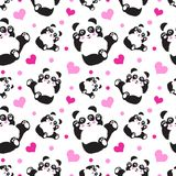 Seamless pattern with cute panda bear and hearts. Funny children`s background, print, gift wrap vector illustration