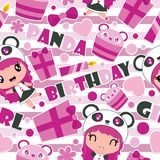 Seamless pattern of cute panda girl, gift, and cupcake on striped background  cartoon illustration for Birthday wrapping pap. Er, kid fabric clothes, and Stock Images