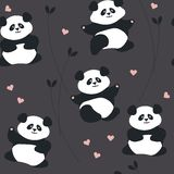 Seamless pattern with cute panda, hearts and plants Royalty Free Stock Photography