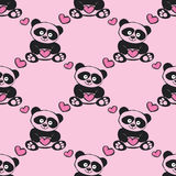 Seamless pattern Cute panda with hearts Royalty Free Stock Photo