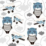 Seamless pattern with cute panda in pilot cap and retro air planes. Creative childish texture for fabric, wrapping, textile,. Wallpaper, apparel. Vector royalty free illustration