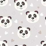 Seamless pattern with cute panda Stock Images