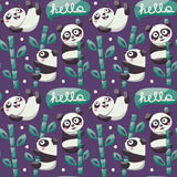 Seamless pattern with cute pandas, bamboo, leafs Royalty Free Stock Photo