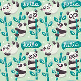 Seamless pattern with cute pandas, bamboo, leafs and hello Stock Photos