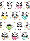 Seamless pattern with cute pandas in a cups for kids. Seamless pattern with cute pandas in a cups for kids textile, wallpapers, gift wrap. White background Stock Image