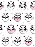 Seamless pattern with cute pandas in a cups. Seamless pattern with cute pandas in a cups for kids textile, wallpapers, gift wrap. White background. Vector Royalty Free Stock Images