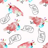 Seamless pattern with cute parrots vector illustration