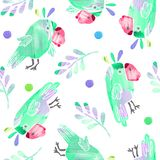 Seamless pattern with cute parrots and leaves vector illustration