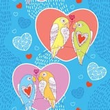 Seamless pattern with cute parrots in love and hearts on the blue striped background Stock Images