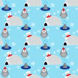 Seamless pattern with cute penguin and bear in Antarctica. EPS 10 Stock Images