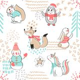 Seamless pattern with cute penguin,snowman, Fox,unicorn, squirrel and rabbit. Hand Drawn  illustration. Background with cart Stock Photography