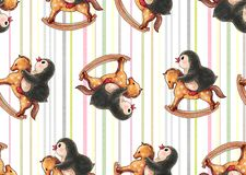 Seamless pattern with cute penguins stock photos