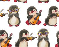 Seamless pattern with cute penguins stock images