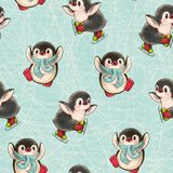 Seamless pattern with cute penguins royalty free stock photo