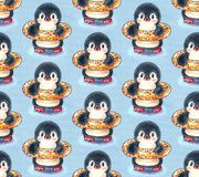 Seamless pattern with cute penguins stock photography