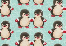 Seamless pattern with cute penguins vector illustration