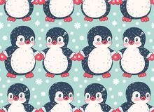 Seamless pattern with cute penguins stock illustration