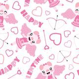 Seamless pattern of cute pig as cupid and Valentine elements  cartoon illustration for Valentine wrapping paper. Kid fabric clothes, and wallpaper Royalty Free Stock Photos