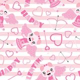 Seamless pattern of cute pig as cupid and Valentine elements on striped background  cartoon illustration for Valentine wrapp. Ing paper, kid fabric clothes, and Stock Photos