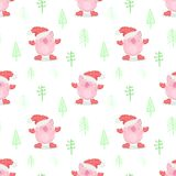 Seamless pattern of a cute pig in a New Year`s cap, mittens and boots on a background of Christmas trees. Vector illustration of vector illustration