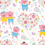 Seamless pattern with cute pigs Royalty Free Stock Photo