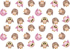 Seamless pattern with cute pink and brown owls Royalty Free Stock Image
