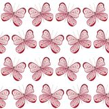 Seamless pattern with Pink butterfly on white background, cute hand painted watercolor illustration