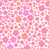 Seamless pattern of cute pink and orange flowers on white background Royalty Free Stock Image