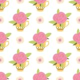 Seamless pattern with cute pink rose in yellow cup Floral spring design Handdrawn style Vector illustration. Seamless pattern with cute pink rose in yellow cup stock illustration