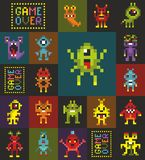 Seamless pattern with cute pixel monsters from the space. Vector illustration aliens from the space vector illustration