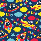 Seamless pattern of cute plane, rocket and ufo on blue background vector cartoon illustration for kid wrapping paper Stock Photography