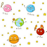 Seamless pattern with cute planets Royalty Free Stock Images