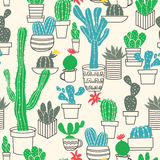 Seamless pattern of cute potted cactuses Stock Photos