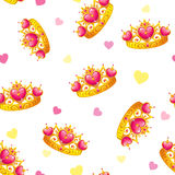 Seamless pattern with cute princess crowns royalty free illustration