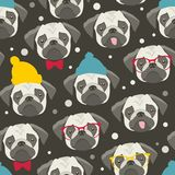Seamless pattern with cute pugs faces. vector illustration