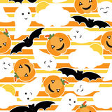 Seamless pattern of Cute pumpkin, bat and ghost cartoon on striped background, Halloween wallpaper, scrap paper,. And postcard, T-shirt design for kids stock illustration