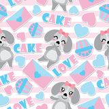 Seamless pattern of cute puppy and Valentine elements on striped background vector cartoon illustration for Valentine wrapping pap. Er, kid fabric clothes, and Royalty Free Stock Image