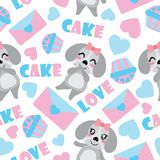 Seamless pattern of cute puppy and Valentine elements vector cartoon illustration for Valentine wrapping paper. Kid fabric clothes, and wallpaper Royalty Free Stock Photos