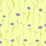 Seamless pattern with cute purple flowers. Soft yellow background. Stock Photos