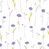 Seamless pattern with cute purple flowers. White background with stylized doodle roses. Stock Photography