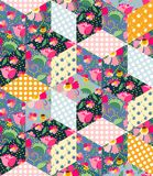 Seamless pattern of cute quilt. Patchwork design. Royalty Free Stock Photo