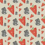Seamless pattern the cute rabbit with carrot Royalty Free Stock Images