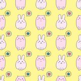 Seamless pattern with cute rabbit and pig. Funny doodle vector illustration Royalty Free Stock Photography