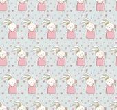 Seamless pattern with cute rabbit in vector. artoon little happy bunny girl. Vintage hand drawn. Kawaii funny animal. Children s