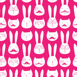 Seamless pattern with cute rabbits and cats. Easy to scale and modify Stock Images