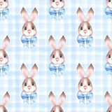 Seamless pattern with cute rabbits 2 Stock Photos