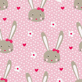 Seamless pattern with cute rabbits Stock Photography